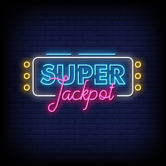 Super jackpot sinais néon estilo texto vector