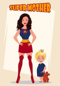 Super mãe de pé com sua filhinha. mulher de super-herói em traje.