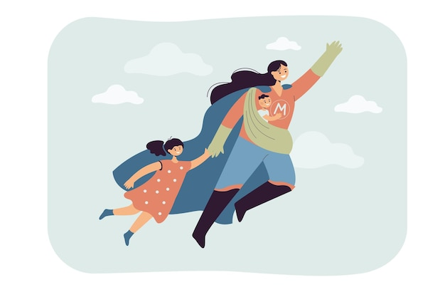 Super mãe voando com crianças. ilustração plana