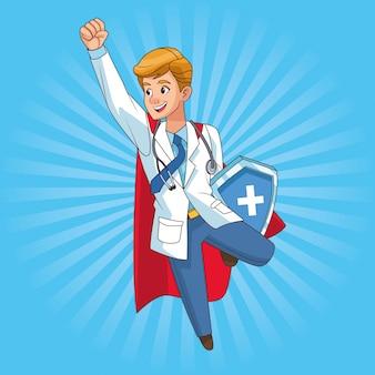 Super médico voando com escudo
