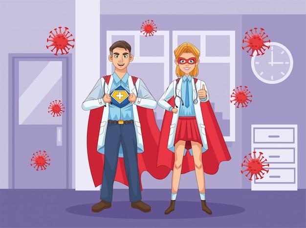 Super médicos casal com herói manto vs covid19