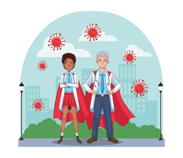 Super médicos casal interracial com herói capa vs covid19
