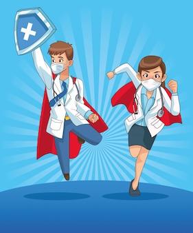 Super médicos casal personagens de quadrinhos
