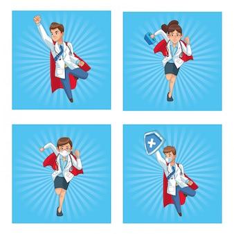 Super médicos funcionários personagens de quadrinhos