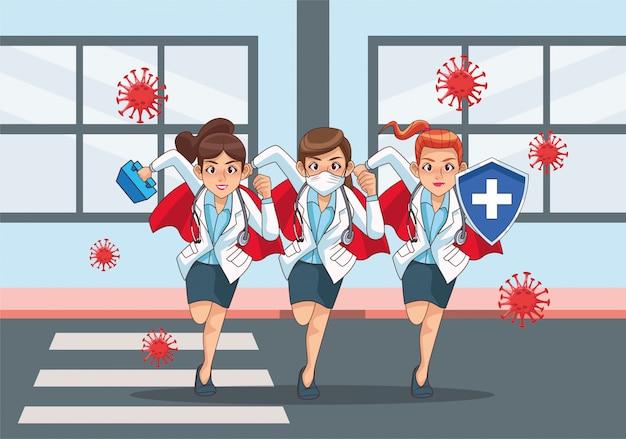 Super médicos mulheres vs covid19 na cidade