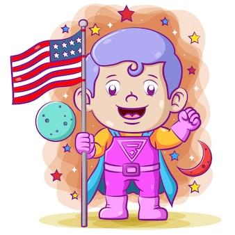 Super menino segurando a bandeira americana no espaço sideral usando o super traje