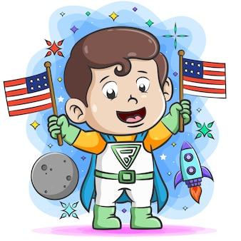 Super menino segurando duas bandeiras na mão em torno das coisas do espaço