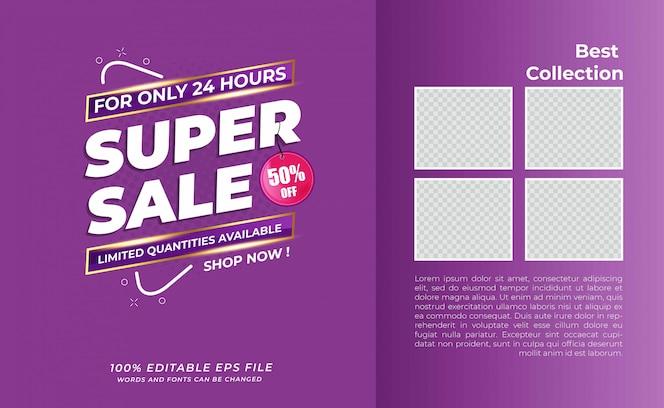 Super moderno banner de venda com produto espacial