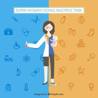 Super mulher fazendo tarefas múltiplas