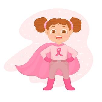 Super mulher lutando contra câncer isolado no branco