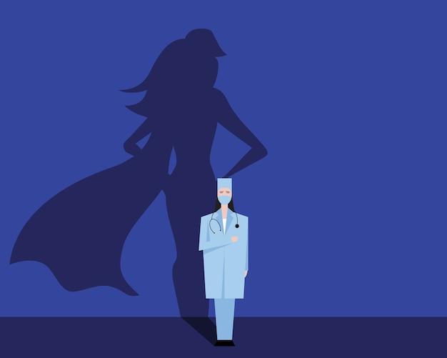 Super mulher médica ou enfermeira.