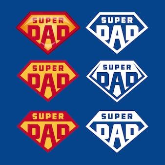 Super pai emblemas etiquetas conjunto de impressões