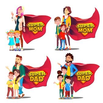 Super pai, mãe, mãe e dia dos pais.
