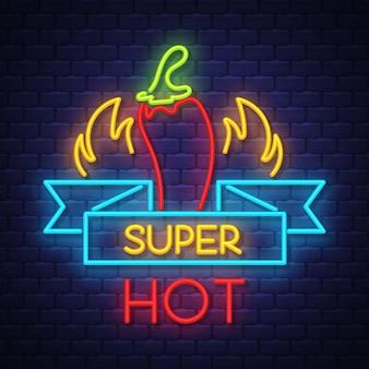 Super pimenta quente sinal de néon