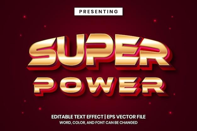 Super poder - efeito de texto editável do estilo moderno jogo metálico