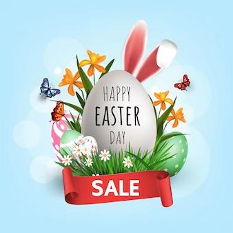 Super promoção de venda, dia de páscoa, compras on-line banner