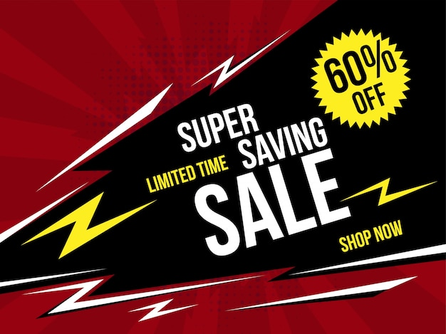 Super saving sale banner com estilo retro.