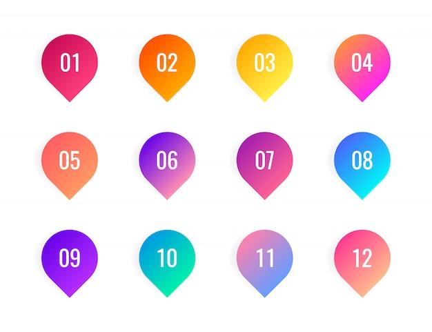 Super set point em fundo branco. marcadores de gradiente coloridos com número de 1 a 12.