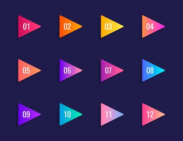 Super set seta bala ponto triângulo bandeiras sobre fundo azul escuro. marcadores de gradiente coloridos com número de 1 a 12.