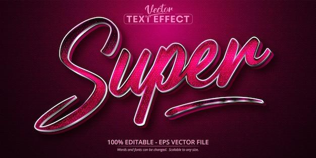 Super texto, efeito de texto editável estilo prata
