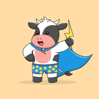 Super vaca com capa e raio