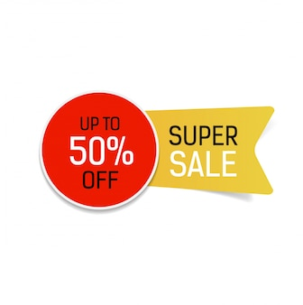 Super venda até 50 por cento fora de letras.