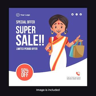 Super venda banner design período limitado oferta mulher com sacolas de compras