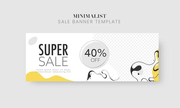 Super venda banner ou design de cabeçalho com oferta de desconto de 40% no fundo branco abstrato.