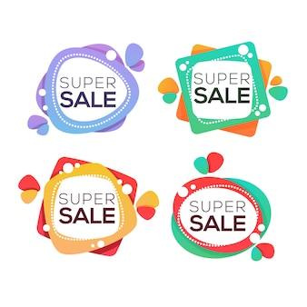 Super venda, coleção de etiquetas, banners e adesivos brilhantes com bolhas de desconto