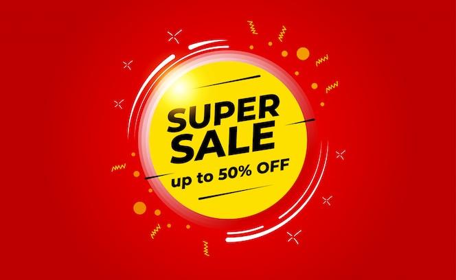 Super venda com até 50% de desconto no banner. para promoções de vendas, banner, desconto.