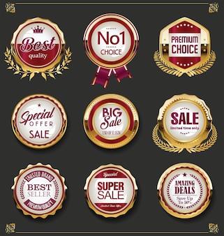 Super venda de emblemas e etiquetas retrô dourados