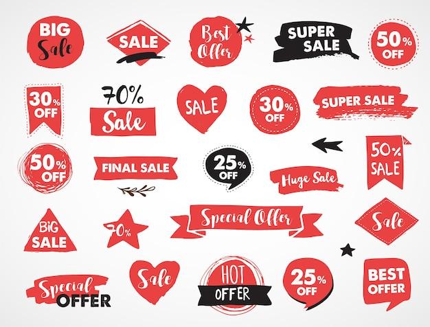 Super venda de rótulos, etiquetas modernas e design de modelo de tags