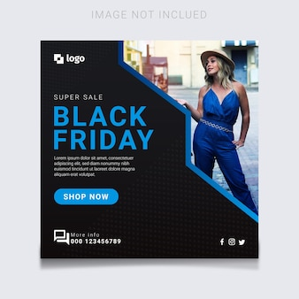 Super venda de sexta-feira negra moderna com design de banner azul splash