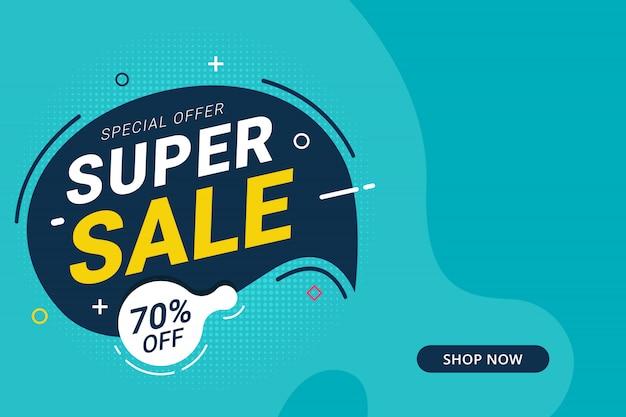 Super venda desconto banner modelo promoção design para negócios