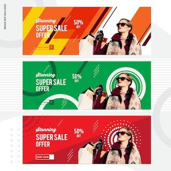 Super venda design de modelo de banner de mídia social