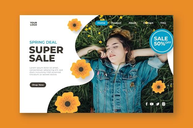 Super venda e mulher em uma landing page de campo