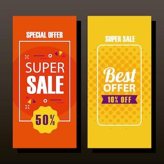 Super venda e oferta em design de banners, compras e ilustração temática de desconto