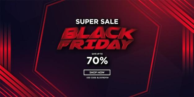 Super venda fundo preto sexta-feira com formas abstratas vermelhas