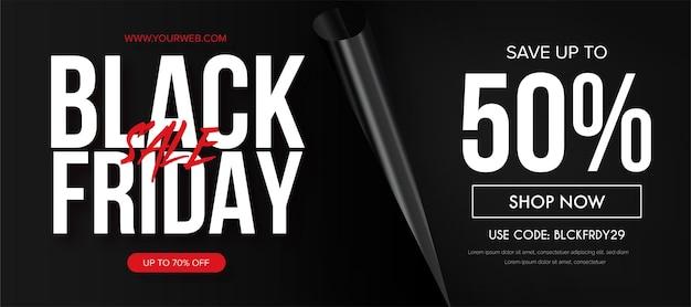 Super venda fundo preto sexta-feira com página de papel realista