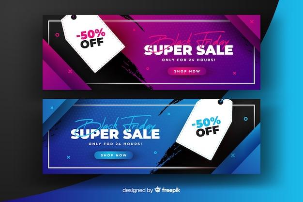 Super venda gradiente preto sexta-feira banners