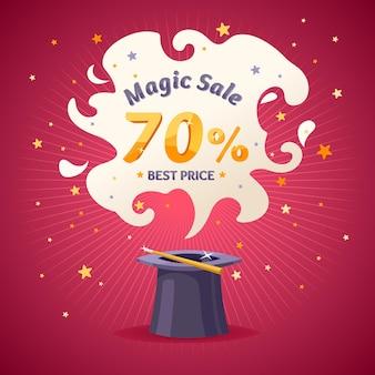 Super venda mágica em design de desenho animado