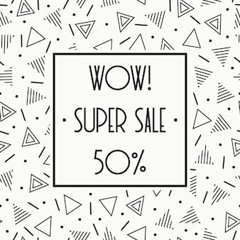 Super venda memphis banner. desconto de até 50%. compre agora. metade do preço de desconto.