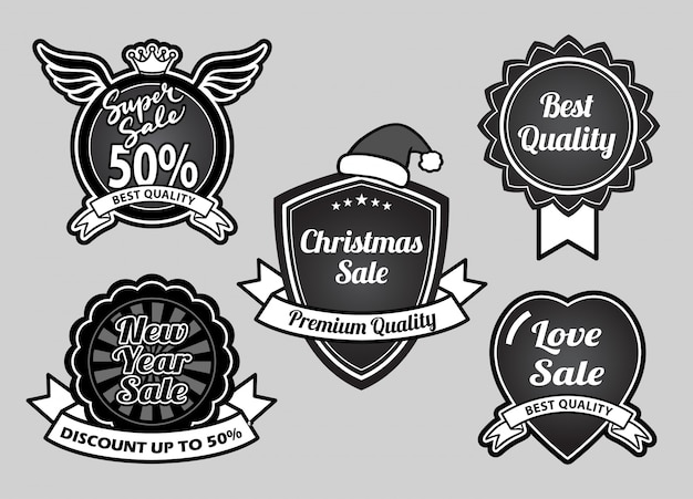 Super venda, natal, feliz ano novo e evento melhores emblemas de qualidade