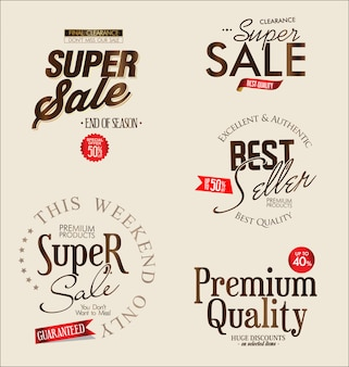 Super venda retro vintage rótulos vector coleção