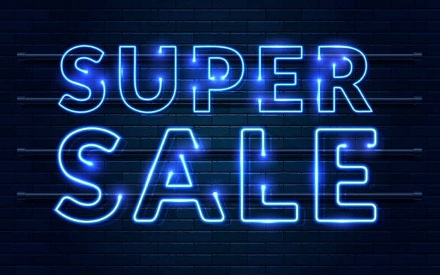 Super venda sinal de néon