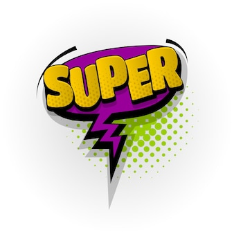 Super wow sound efeitos de texto de quadrinhos modelo quadrinhos balão de fala meio-tom estilo pop art