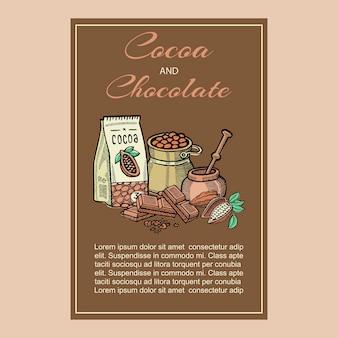 Superalimento de cacau, cartão de ilustração de alimentos saudáveis orgânicos