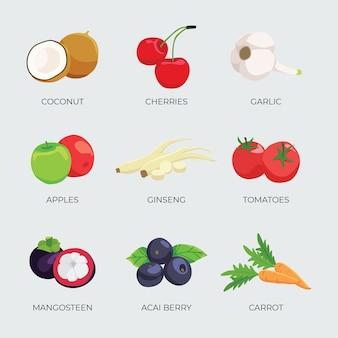 Superalimentos vegetais e frutas