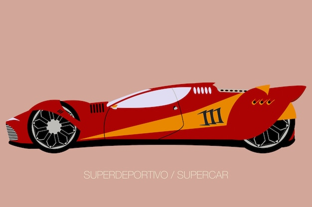 Supercarro de corrida, vista lateral, estilo design plano