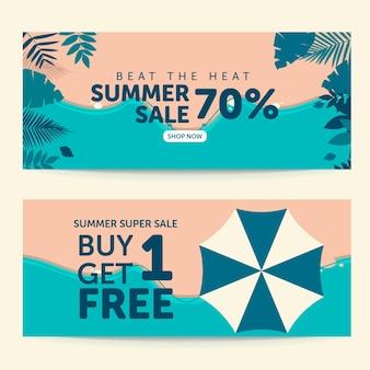 Supere o calor design de banner de promoção de verão